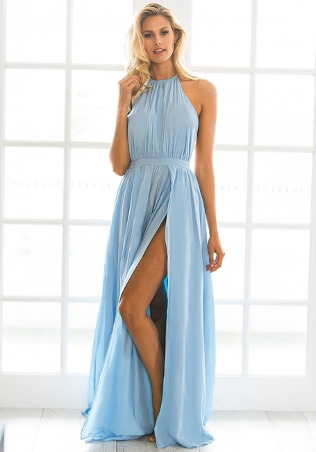 Halter Chiffon Summer Beach Party Dresses Backless Slit Long Evening Gowns