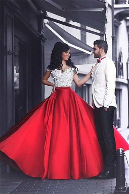 White and Red Two Piece Prom Dress  Off-the-shoulder Sexy Long Evening Dress MH057