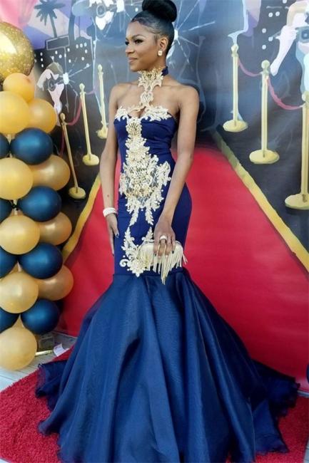 Sexy Navy Blue Mermaid Prom Dresses   High Neck Appliques Evening Dresses SK0154
