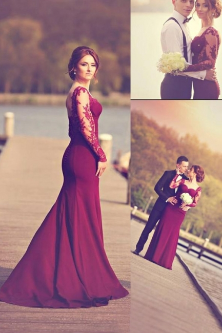 Burgundy Backless Prom Dress  Mermaid Lace Sleeved Evening Gowns CE009