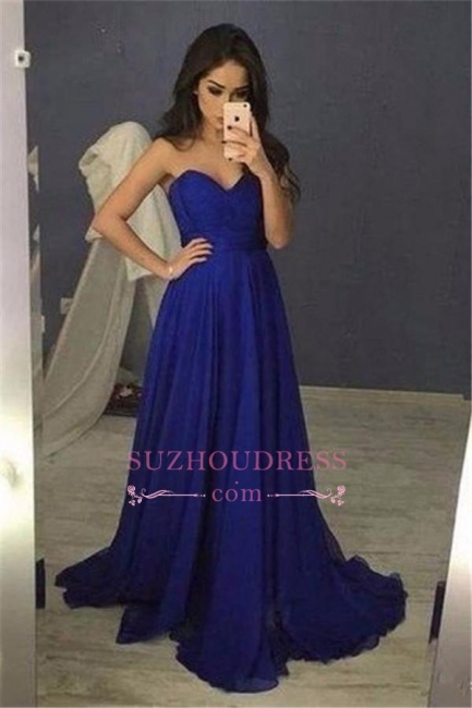 Long Sweetheart  Blue Chiffon A-Line Prom Dresses