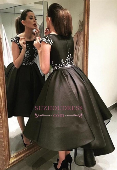 Classic Black Evening Dresses  Silver Sequins Hi-lo  Prom Gowns BA3510