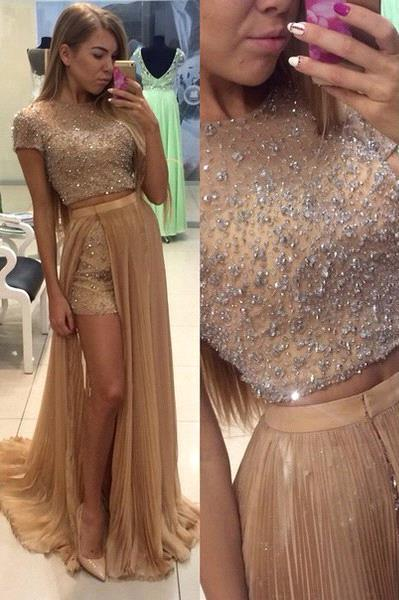 Latest Short Sleeve Beading Evening Gown Two Piece Crystal Prom Dress with Detachable Train