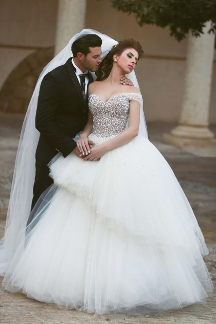 Off Shoulder Tulle Beadings Floor Length Wedding Dress New Arrival Lcae-Up Ball Gown Bridal Gowns