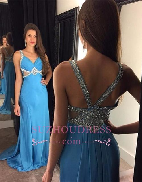 Blue Chiffon Prom Dresses  Sleeveless Crystals Long Evening Gowns