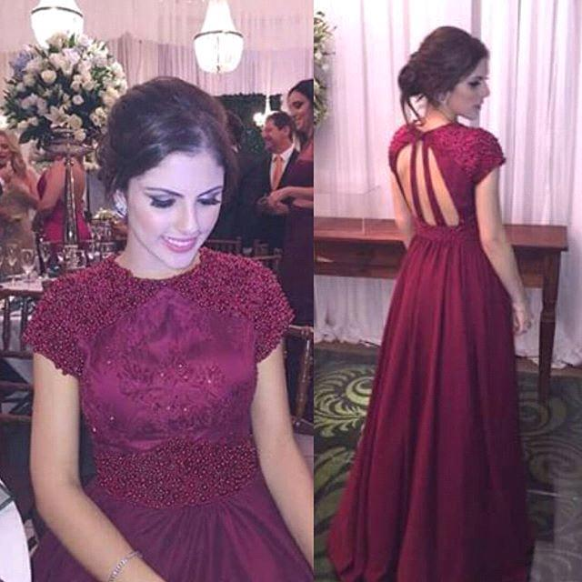 Beading A-Line Burgundy  Prom Dress Halter Short Sleeve Formal Occasion Dresses