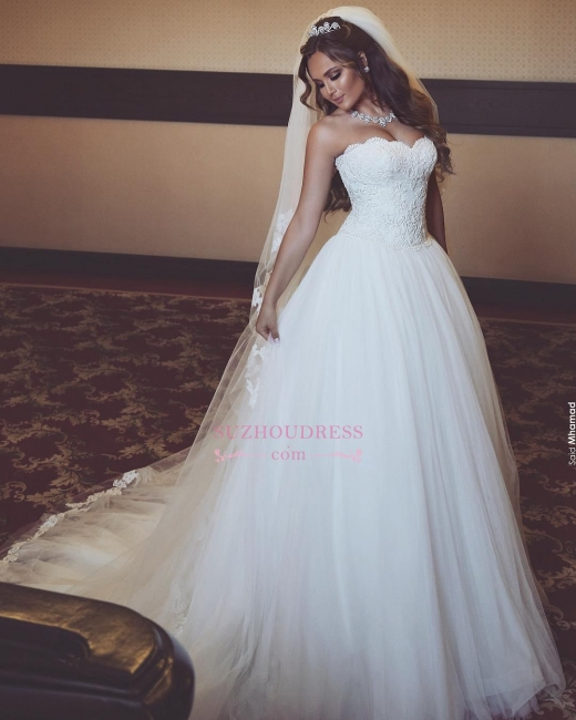 Gorgeous Tulle Sweetheart Sleeveless Lace Long Wedding Dresses