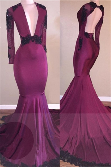 Deep V-neck Black Lace Appliques Prom Dress | Long Sleeve Mermaid Sexy Evening Gown BA7833