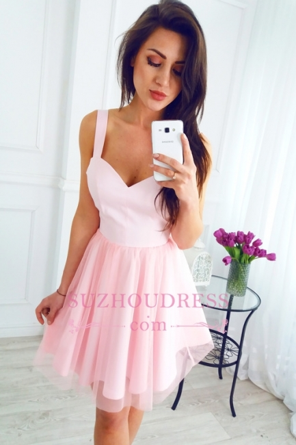 Short Pink Straps Sleeveless A-line Newest Homecoming Dress