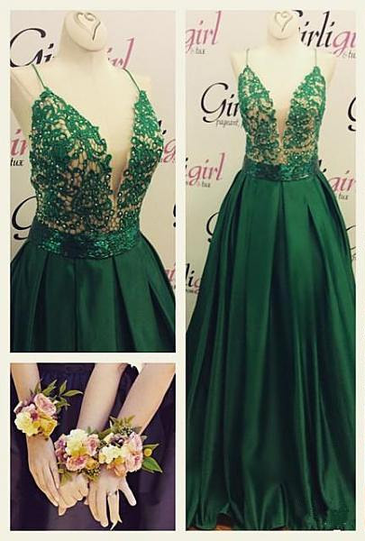 Dark Green Spaghetti Straps Prom Dresses  A-line Evening Gowns  BA3280