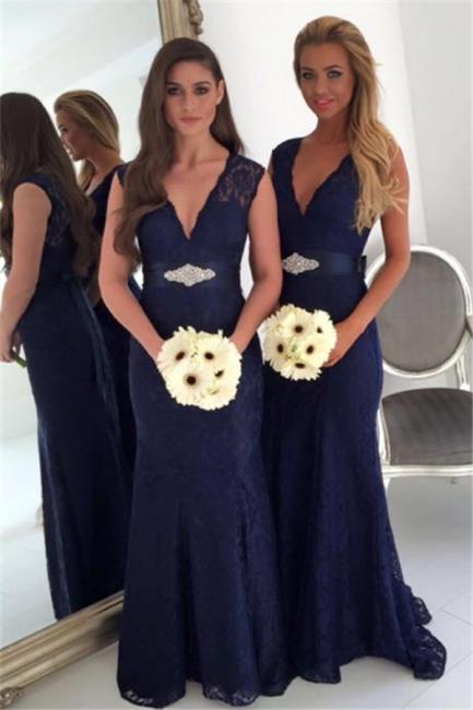 V-neck Navy Blue Lace Bridesmaid Dresses with Bowknot Sash | Sleeveless  Maid Of Honor Dresses
