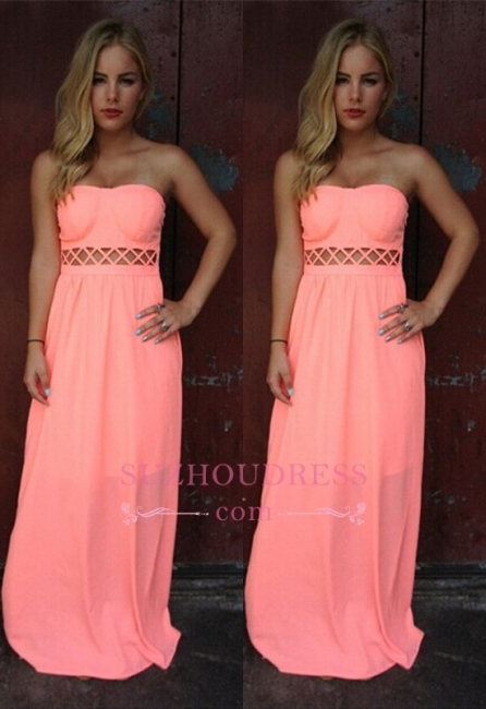 Floor-length Simple A-line Sleeveless Strapless Prom Dress
