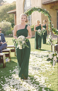 One Shoulder Dark Green Chiffon Long Bridesmaid Dress Latest Cheap Ruffles Plus Size Wedding Dress
