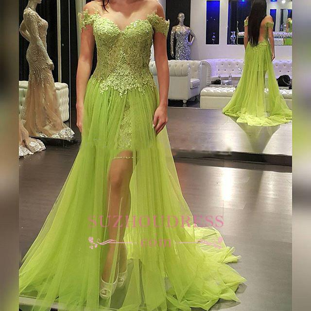 A-line Off-the-Shoulder Popular Tulle Lace Prom Dress