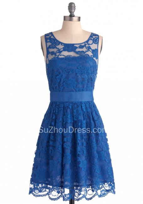 Lace Homecoming Dresses Royal Blue Jewel Sleeveless Short Zipper Sheer Prom Gowns