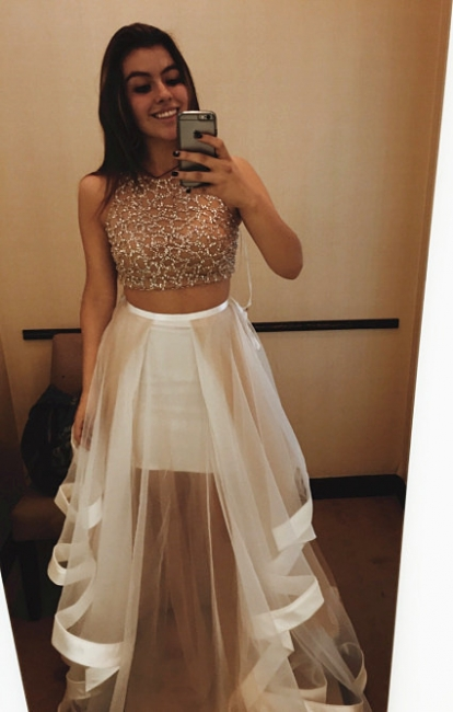 Champagne Two Piece Prom Dresses  Beading Organza Long Evening Gown