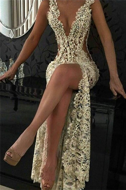 Sexy Lace Evening Gowns  Sleeveless Beading Split Popular Prom Dresses CE0061