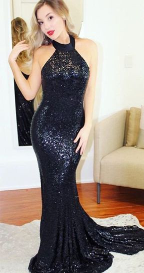Halter Sleeveless Sparkly Sequins Formal Dresses   Open Back Sexy Evening Gown