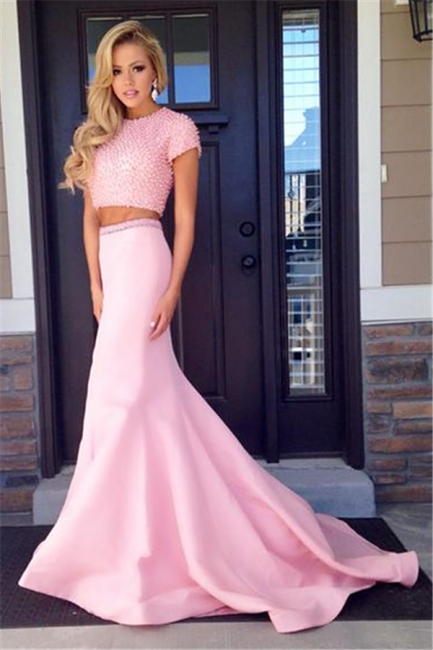 Pink Short Sleeve Two Piece Prom Dress  Mermaid Long Train Evening Dress with Beads CJ0439