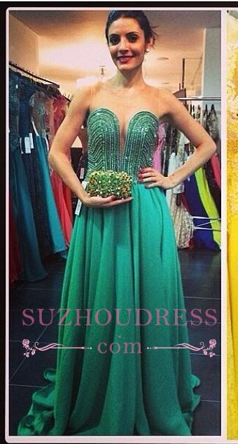 Beading A-line Sweetheart Green Train Sweep Evening Gown