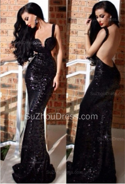 New Black Sequined Prom Dresses Mermaid Backless Sweetheart Sweep Train Prom Gowns