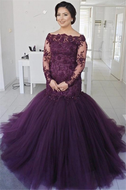 See Through Lace Puffy Tulle Evening Dress | Long Sleeve Formal Dresses