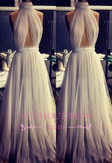 Sexy Sleeveless A-line High Neck Evening Gowns  Tulle Prom Dress