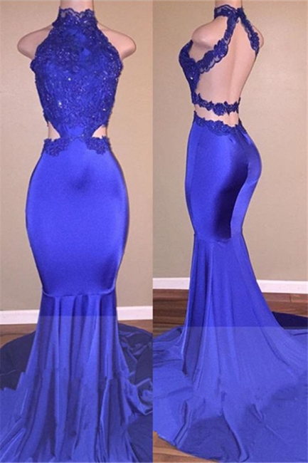 High Neck Open Back Prom Dresses    Sexy Lace Mermaid Evening Dress  BA7974