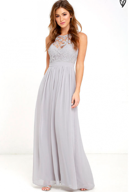 Sleeveless Chiffon Lace Summer Beach Dresses Zipper Floor Length Prom Gowns