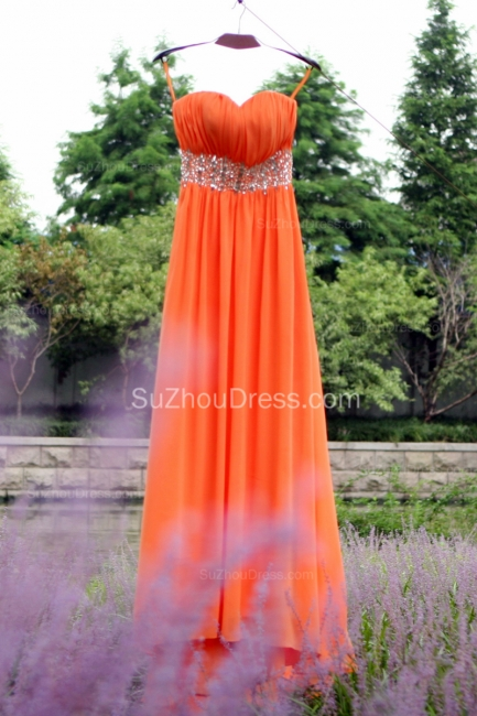 Orange Prom Gowns  Spaghetti Straps Sequined Beading Crystal Floor Length Backless Chiffon Evening Dresses