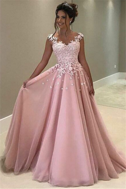 Flowers Appliques Pink Prom Dress  Sleeveless Long Evening Gown