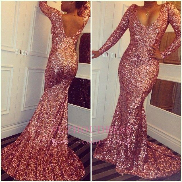 Simple Rose Pink Sequined Evening Gowns  Sexy Long Sleeves Mermaid Prom Dresses BA3866
