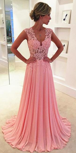 V-neck Pink  Long Prom Dresses Elegant Popular Evening Dress CE043