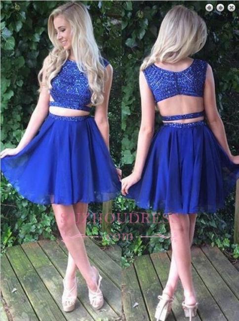 Modest Two-Piece Beading Sleeveless Short Royal-Blue Homecoming Dress BA7045