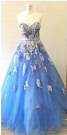 Sweetheart Colorful Lace Appliques Prom Dresses Sky Blue Evening Gowns for Princess