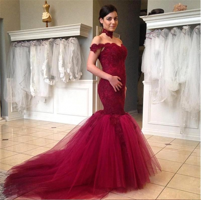 Mermaid Off the Shoulder Lace Evening Gown with Train Sexy Burgundy Party Dress