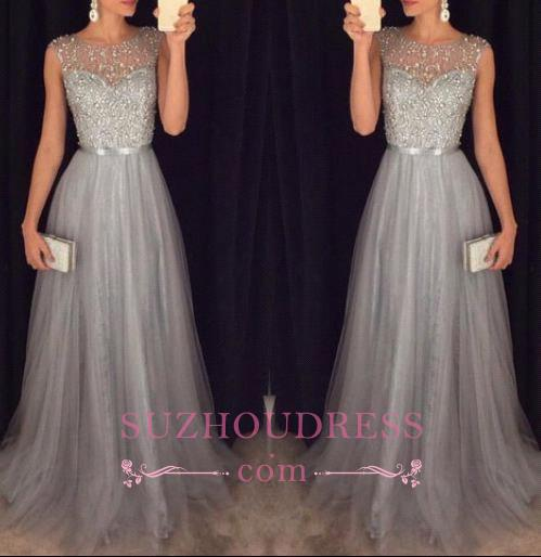 Sleeveless Elegant A-line Grey Tulle Prom Dresses  Sparkly Sequins Beaded Evening Gowns GA069 BA4581