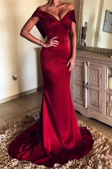 Burgundy Sheath Off-the-Shoulder Prom Dresses |  Open Back Evening Gowns