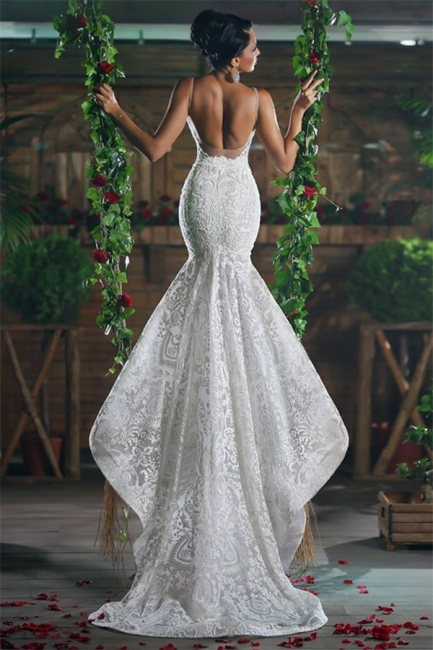 Sexy V-neck Mermaid Wedding Dresses Long  Unique Lace Ope Back Tulle Straps Bridal Gowns