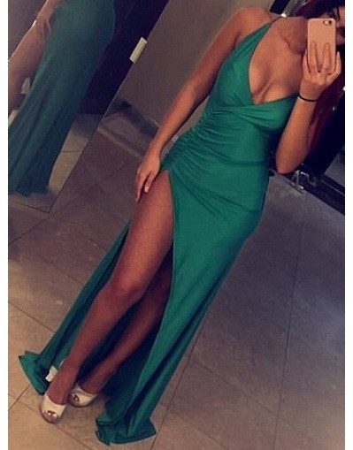 Sexy Slinky Evening Gowns Deep V-neck Open Back Latest Maxi Dresses with Split BA3112