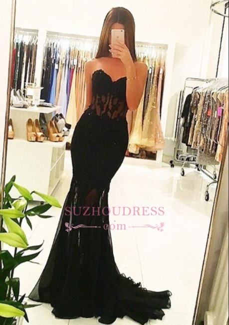 Sexy Sweetheart Mermaid Black Evening Dresses | See Through Sexy  Formal Prom Dresses 2019 AN0