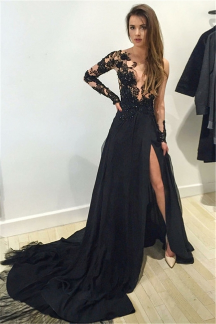 Sexy Black Prom Dress  Lace Sleeved Long Evening Dress with Slit TB0317