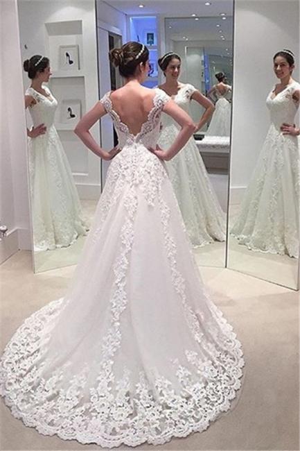 Elegant A-line Lace Bride Dress  V-neck Open Back Long Train Wedding Dress