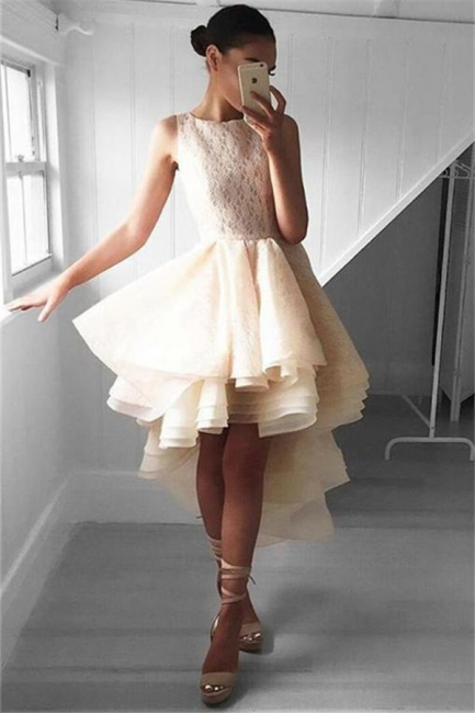 Champagne Lace Hi-Lo Homecoming Dresses 2019   Sleeveless Tiered  Hoco Dresses