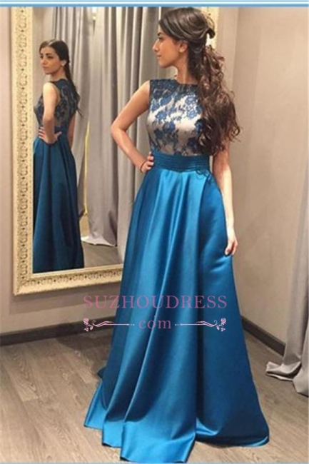 Blue Glamorous Zipper A-Line Sleeveless Appliques Prom Dress
