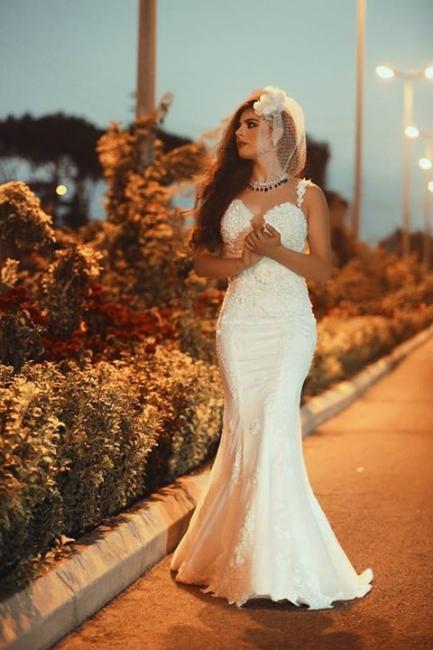 Spaghetti Strap White Sexy Mermaid Bridal Gown  New Arrival Lace Detachable Train Wedding Dress