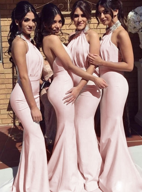 Simple Pink Mermaid High Neck Bridemaid Dresses |  Open Back Crystal Evening Dress