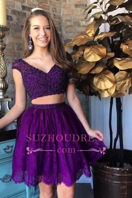 Two-Piece Lace Beading Cap-Sleeve Short Delicate Homecoming Dress