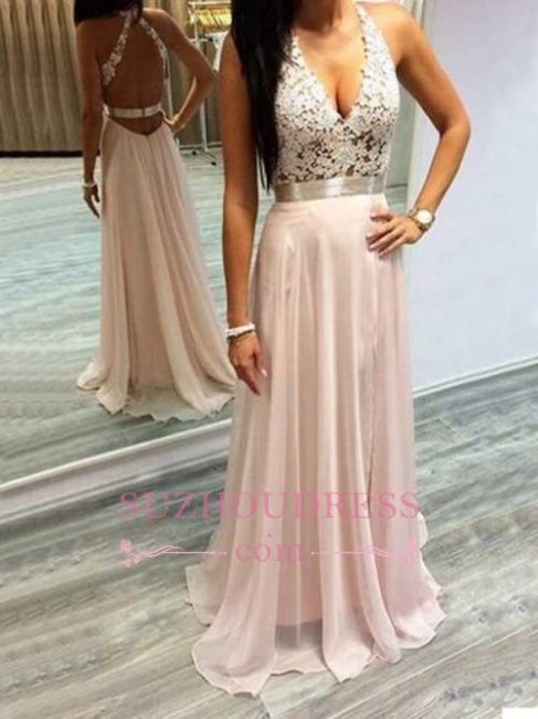 Chiffon V-Neck Open Back Long Evening Gowns  Lace Halter Prom Dresses BA2433