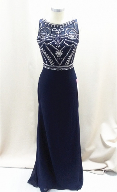Sexy Dark Navy Sleeveless Prom Dresses A-Line Floor Length Evening Dresses with Beadings